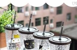 夏日雙層碎冰吸管杯冰酷杯