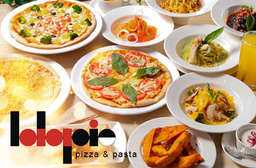【La La Pie 菈菈百匯廚坊】一次滿足您對義式料理的所有渴望!無限量供應多種口味披薩、義大利麵,與甜點!手工製作現烤披薩,香熱美味又多料! 西區 只要630元起,即可享有【La La Pie 菈菈百匯廚坊】A.雙人吃到飽 / B.歡樂四人吃到飽