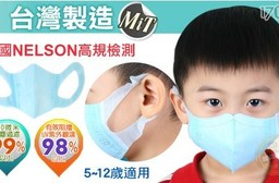 台灣製【藍鷹牌】5-12歲兒童立體一體成型防塵用口罩(2盒)