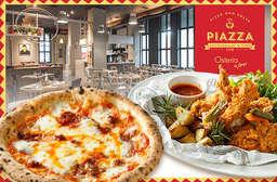 亞洲最佳 101 家餐廳之一的知名義式品牌 Osteria by Angie 另一品牌【Piazza 皮耶薩】帥哥義大利主廚打造道地義式!人氣打卡聖地 ~ 雙人套餐 999! 仁愛區 只要999元(雙人價),即可享有【Piazza皮耶薩】皮耶薩精選雙人套餐〈蒜味麵包(雙人份)一份 + 義式凱薩沙拉佐酥脆培根一份 + 義式豬肉丸蕃茄醬汁佐奧勒岡一份 + 酥炸起司三明治佐青醬一份 + 南瓜濃湯二份 + 主菜:辣味臘腸比薩/瑪格莉特比薩/辣味蒜頭海鮮麵/酥脆炸雞佐醃黃瓜/豬肋排香腸串 五選二 +...