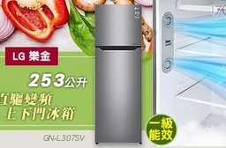 【LG 樂金】253公升 直驅變頻上下門冰箱 GN-L307SV
