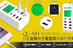 QC-A8T 八孔智慧快充電壓顯示旅行充電器(Type-C/QC 3.0快充)