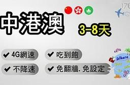 中港澳-3天不降速吃到飽