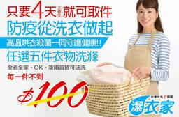 台灣大洗e聯盟-潔衣家 5.2折 任選五件衣物洗滌